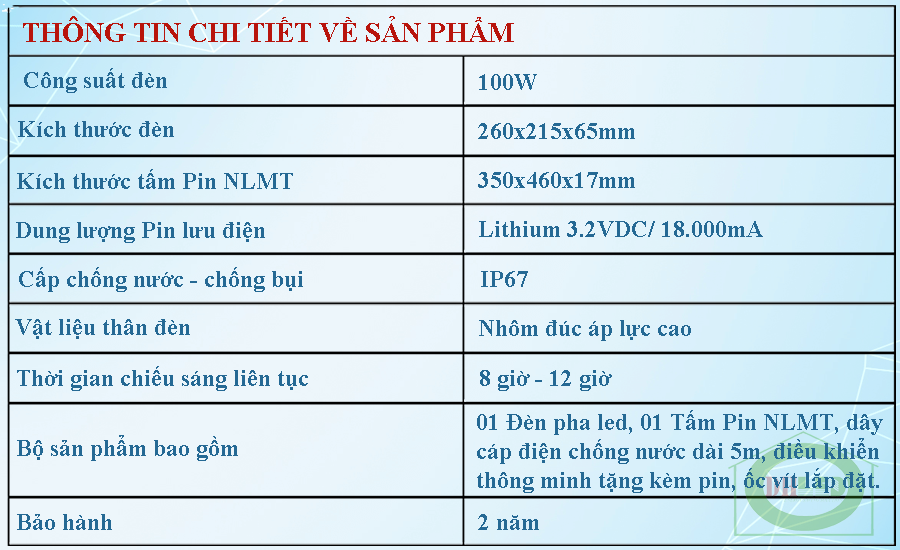 thông tin chi tiết về sản phẩm thiết bị đèn led năng lượng mặt trời