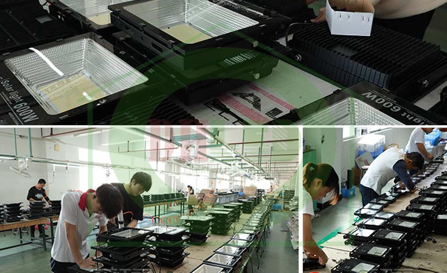 hệ thống nhà xưởng sản xuất Đèn pha led năng lượng mặt trời